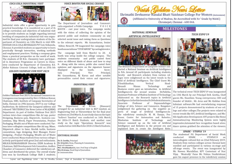 Vaish Golden Newsletter Mar 2019