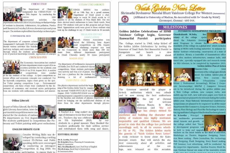 Vaish Golden Newsletter Jan 2019